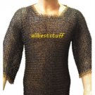 MS Chain Mail Round Riveted Chainmail Shirt Black with Round Rivet Brass Rings