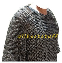 Stainless Steel Chain Mail Shirt Full Flat Riveted & Aventail Set