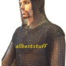 Butted Chain Mail Hauberk & Coif Set 8 mm Ring Size Blackend Chainmail Shirt