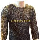 8mm Butted Chain Mail Shirt and Coif Set Black Hauberk Medium Size Chainmail