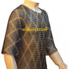 Designer Chainmail Hauberk Butted Blackend Chain Mail Shirt with Brass Shirt