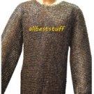 Chainmail Hauberk Shirt & Coif Set Chain Mail Full Flat Rivet high quality 8mm