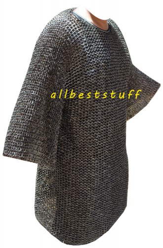 Stainless Steel Chain Mail Shirt Full Flat Riveted Large High Quality Hauberk