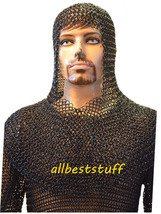 Butted Chain Mail Hauberk & Coif Set Black Medium Large Long sleeve Chainmail