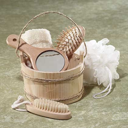 6-Piece Wood Bucket Bath Set