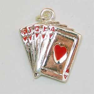 Aces High Hearts Card Hand Silver Charm (PC501)