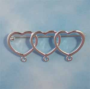 Charm Pin with 3 hearts (PC603)