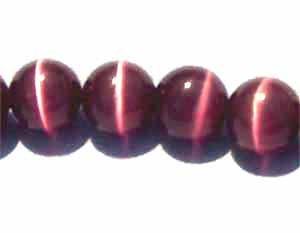 Dark Purple Cats Eye 8mm Round Beads (GL244)