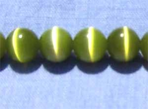 Olive Green Cats Eye 8mm Round Beads (GL1143)