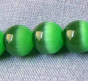 Kelly Green Cats Eye 4mm Round Beads (GL239)