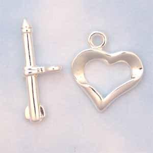 Heart Toggle Silver plated (FI812)