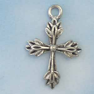 Leaf Cross Pewter Charm - Antique silver (PC1286)