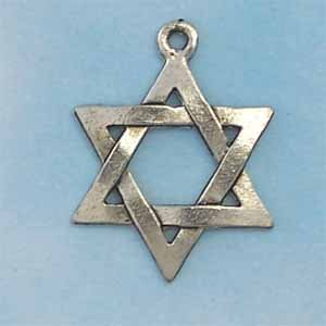 Star of David Pewter Charm - Antique silver (PC334)