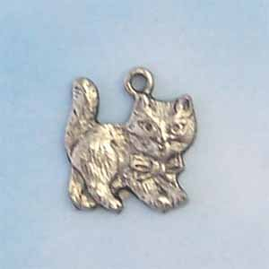 Small Kitten Pewter Charm - Antique silver (PC414)