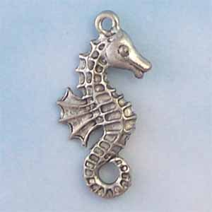 Sea Horse Pewter Charm - Antique silver (PC338)