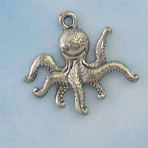 Octupus Pewter Charm - Antique silver (PC421)
