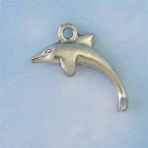Dolphin Pewter Charm - Antique silver(PC422)