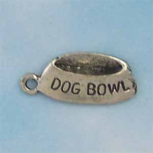 Dog Bowl Pewter Charm - Antique silver (PC412)