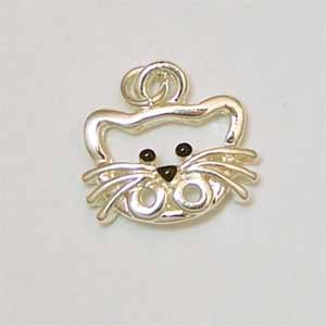 Cat Face Silver Charm (PC511)