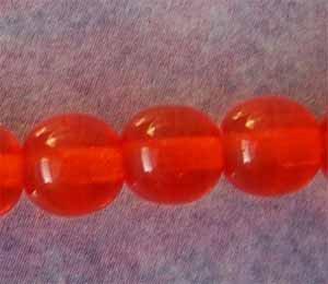 6mm Orange Round Glass Beads (GL1297)
