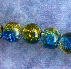 6mm Royal Blue/Yellow Crackle Round Glass Beads (GL1423)