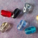 Czech Glass Twisted Rectangle Tube Beads 6x9mm Assorted Colors  (GL1329)