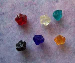Czech Glass Drop Flower Beads 7x6mm Assorted Colors (GL862)