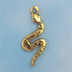 Snake Pewter Charm - Antique Gold (PC324)
