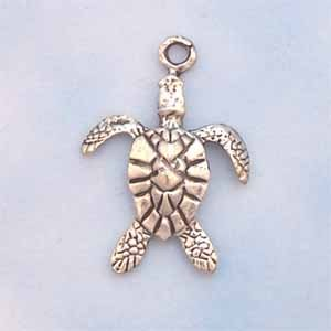 Turtle Pewter Charm - Antique Silver (PC419)