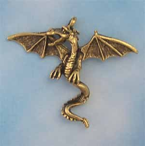 Dragon Pewter Pendant - Antique Gold (PC290)
