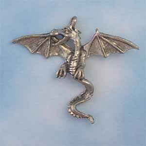 Dragon Pewter Pendant - Antique Silver (PC1204)