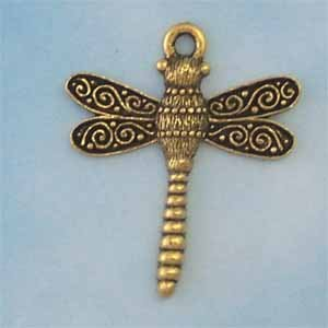 Dragonfly Pewter Pendant - Antique Gold (PC293)