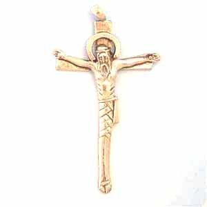 Crucifix Pewter Pendant - Antique Silver (PC401)