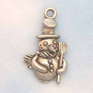 Snowman Pewter Charm - Antique Silver (PC389F)