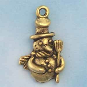 Snowman Pewter Charm - Antique Gold (PC390F)