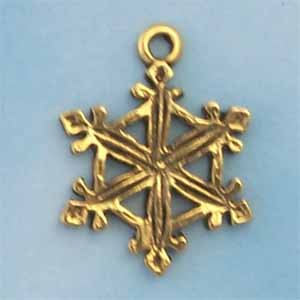Snowflake Pewter Charm - Antique Gold (PC390H)