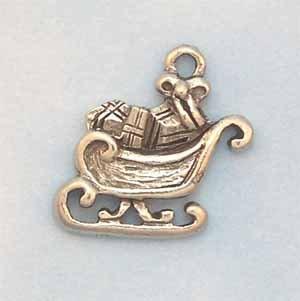 Sleigh Pewter Charm - Antique Silver (PC389E)