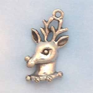 Reindeer Pewter Charm - Antique Silver (PC389B)