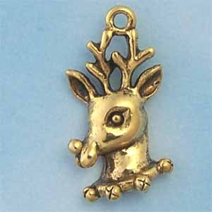 Reindeer Pewter Charm - Antique Gold (PC390B)