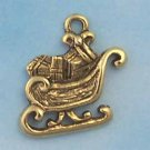 Sleigh Pewter Charm - Antique Gold (PC390E)