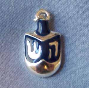 Dreidl Blue and Silver Charm (PC571)