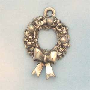 Christmas Wreath Pewter Charm - Antique Silver (PC389C)