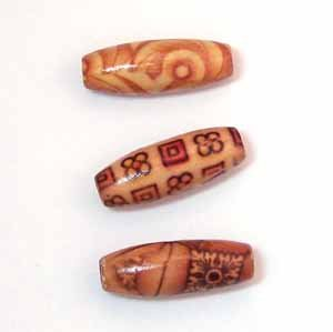 Bamboo Printed Beads 22mm (WB1406)