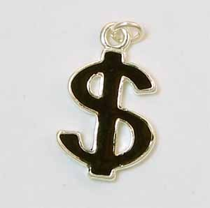 Black Dollar Sign Charm (PC502)