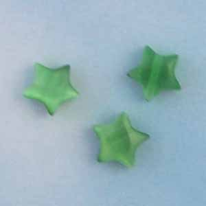 Kelly Green Cats Eye 6mm Puffy Star Beads (GL1066)