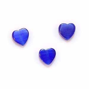 Royal Blue Cats Eye Heart Beads (GL1074)