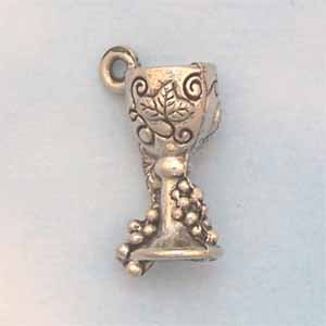 Wine Goblet Pewter Charm - Antique Silver (PC438)