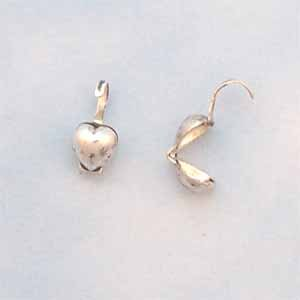 Heart Bead Tips - Antique Silver Plated (FI1091)