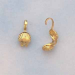 Shell Bead Tips - Antique Gold Plated (FI1094)