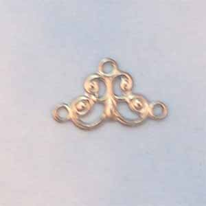 Filigree Connector 3 Loops Silver Plated  (FI1310)